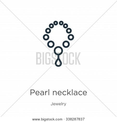 Pearl Necklace Icon. Thin Linear Pearl Necklace Outline Icon Isolated On White Background From Jewel