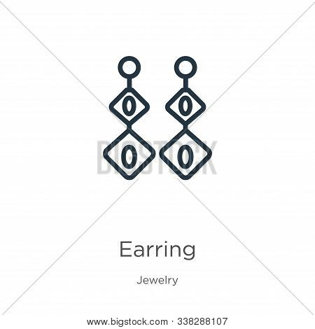 Earring Icon. Thin Linear Earring Outline Icon Isolated On White Background From Jewelry Collection.