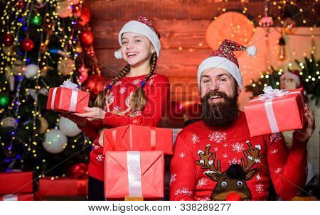 We Love Boxing Day. Happy Family Celebrate Boxing Day. Bearded Father Man And Little Girl Child Hold