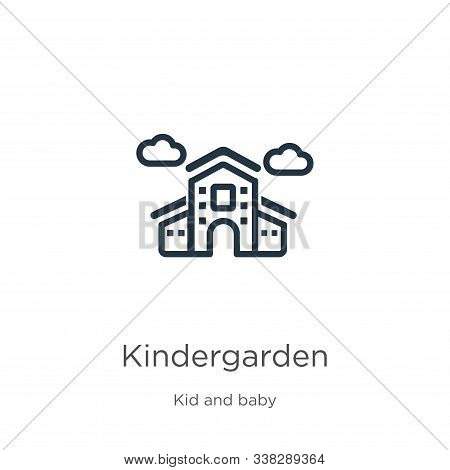 Kindergarden Icon. Thin Linear Kindergarden Outline Icon Isolated On White Background From Kid And B
