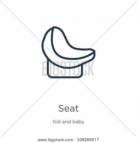Seat Icon. Thin Linear Seat Outline Icon Isolated On White Background From Kid And Baby Collection.