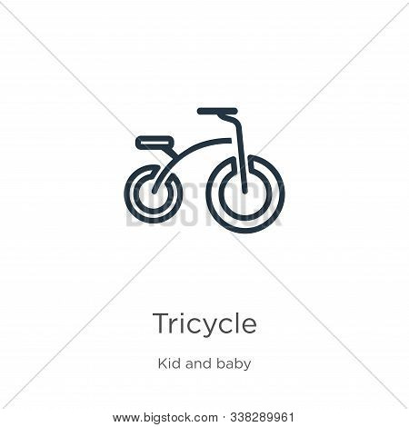 Tricycle Icon. Thin Linear Tricycle Outline Icon Isolated On White Background From Kid And Baby Coll