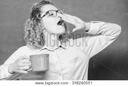 Morning Vibes. Idea And Inspiration. Yawning Woman With Coffee Cup At Blackboard. Good Morning. Girl