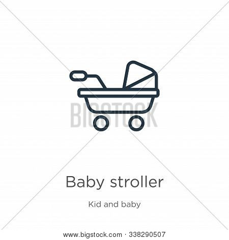 Baby Stroller Icon. Thin Linear Baby Stroller Outline Icon Isolated On White Background From Kids An