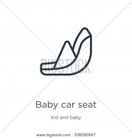Baby Car Seat Icon. Thin Linear Baby Car Seat Outline Icon Isolated On White Background From Kids An