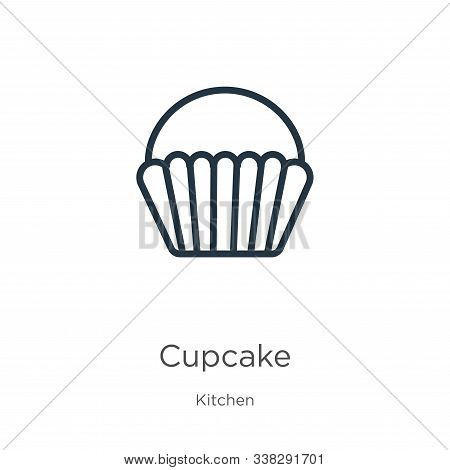 Cupcake Icon. Thin Linear Cupcake Outline Icon Isolated On White Background From Kitchen Collection.
