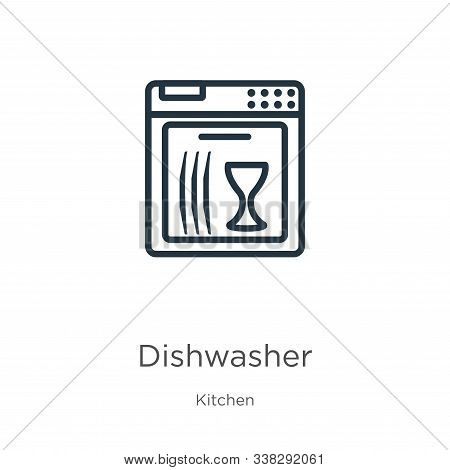 Dishwasher Icon. Thin Linear Dishwasher Outline Icon Isolated On White Background From Kitchen Colle