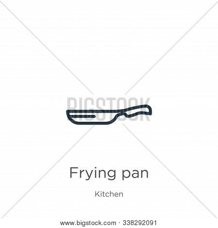 Frying Pan Icon. Thin Linear Frying Pan Outline Icon Isolated On White Background From Kitchen Colle