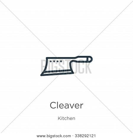 Cleaver Icon. Thin Linear Cleaver Outline Icon Isolated On White Background From Kitchen Collection.