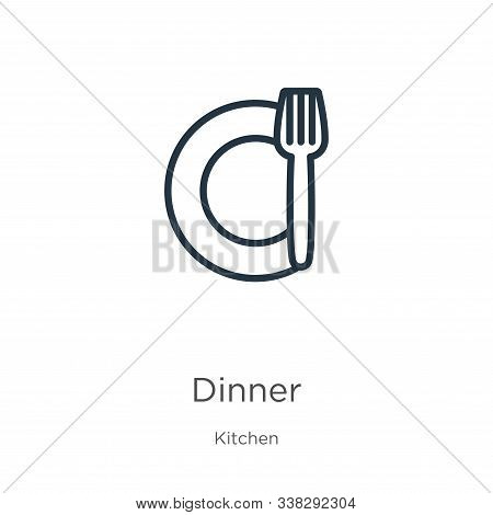 Dinner Icon. Thin Linear Dinner Outline Icon Isolated On White Background From Kitchen Collection. L