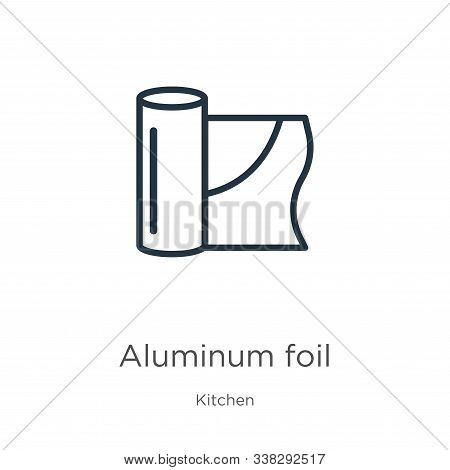 Aluminum Foil Icon. Thin Linear Aluminum Foil Outline Icon Isolated On White Background From Kitchen