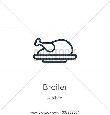 Broiler Icon. Thin Linear Broiler Outline Icon Isolated On White Background From Kitchen Collection.