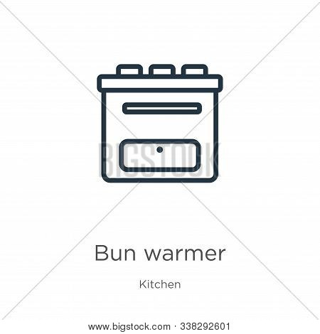 Bun Warmer Icon. Thin Linear Bun Warmer Outline Icon Isolated On White Background From Kitchen Colle