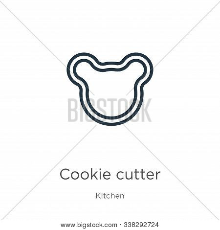 Cookie Cutter Icon. Thin Linear Cookie Cutter Outline Icon Isolated On White Background From Kitchen