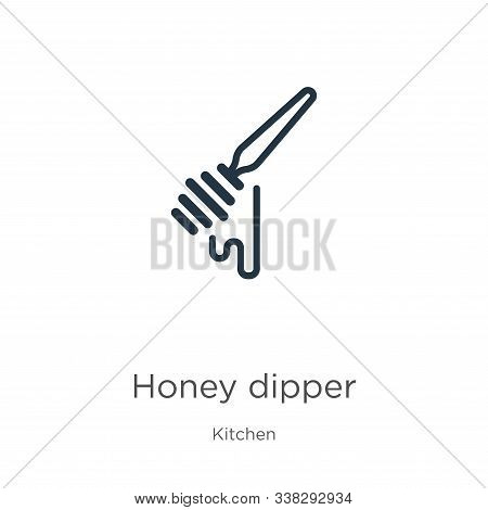 Honey Dipper Icon. Thin Linear Honey Dipper Outline Icon Isolated On White Background From Kitchen C