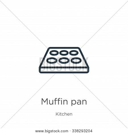 Muffin Pan Icon. Thin Linear Muffin Pan Outline Icon Isolated On White Background From Kitchen Colle