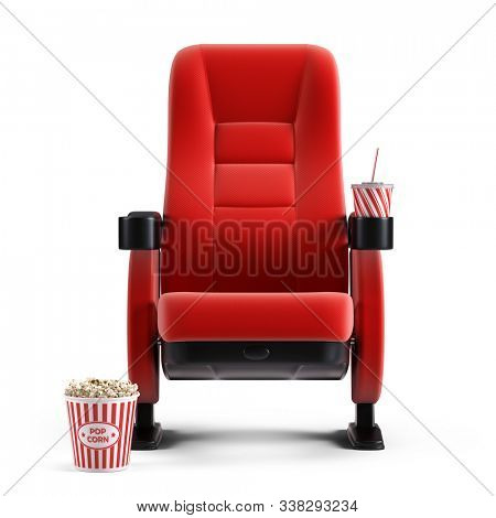 Cinema concept - Front view of red cinema chair with cup drink and box of popcorn on white background. 3d illustration