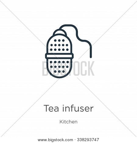Tea Infuser Icon. Thin Linear Tea Infuser Outline Icon Isolated On White Background From Kitchen Col