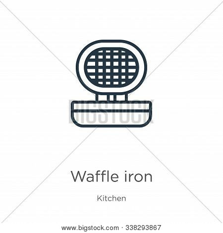 Waffle Iron Icon. Thin Linear Waffle Iron Outline Icon Isolated On White Background From Kitchen Col