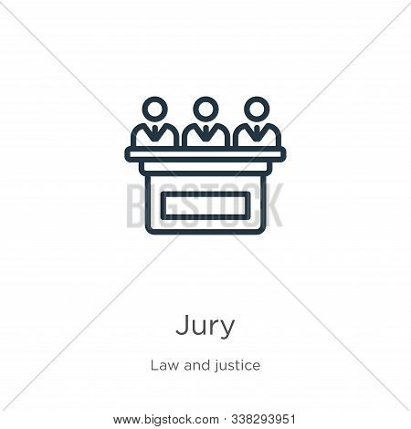 Jury Icon. Thin Linear Jury Outline Icon Isolated On White Background From Law And Justice Collectio