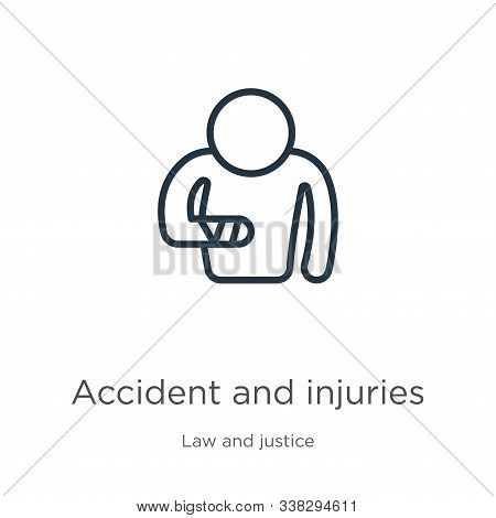 Accident And Injuries Icon. Thin Linear Accident And Injuries Outline Icon Isolated On White Backgro