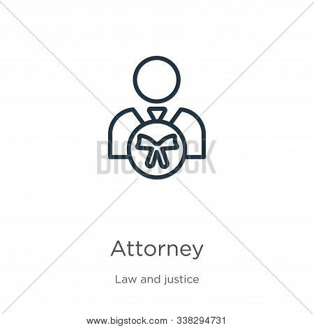 Attorney Icon. Thin Linear Attorney Outline Icon Isolated On White Background From Law And Justice C