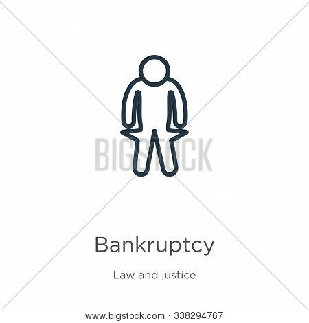 Bankruptcy Icon. Thin Linear Bankruptcy Outline Icon Isolated On White Background From Law And Justi