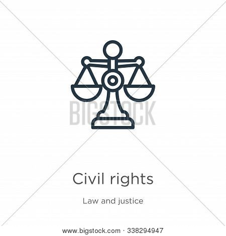 Civil Rights Icon. Thin Linear Civil Rights Outline Icon Isolated On White Background From Law And J