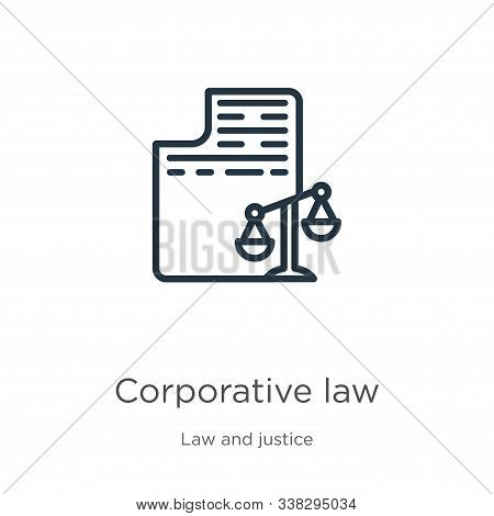 Corporative Law Icon. Thin Linear Corporative Law Outline Icon Isolated On White Background From Law