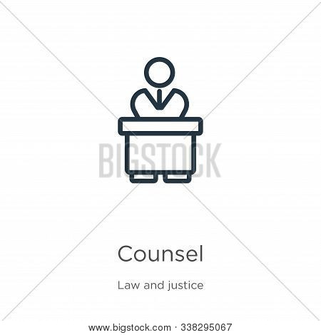 Counsel Icon. Thin Linear Counsel Outline Icon Isolated On White Background From Law And Justice Col