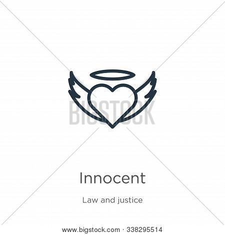 Innocent Icon. Thin Linear Innocent Outline Icon Isolated On White Background From Law And Justice C