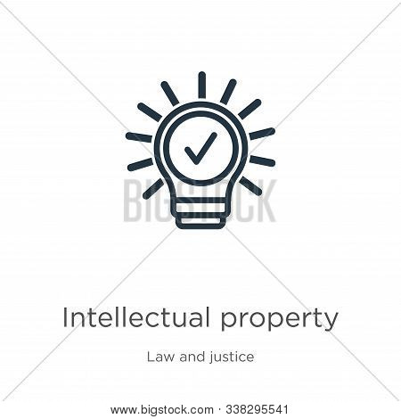 Intellectual Property Icon. Thin Linear Intellectual Property Outline Icon Isolated On White Backgro