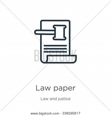 Law Paper Icon. Thin Linear Law Paper Outline Icon Isolated On White Background From Law And Justice