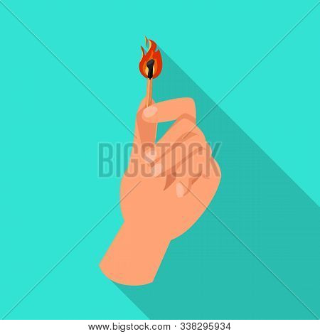 Isolated Object Of Matchstick And Arm Icon. Web Element Of Matchstick And Blaze Stock Symbol For Web