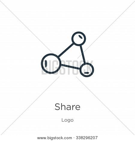 Share Symbol Icon. Thin Linear Share Symbol Outline Icon Isolated On White Background From Logo Coll
