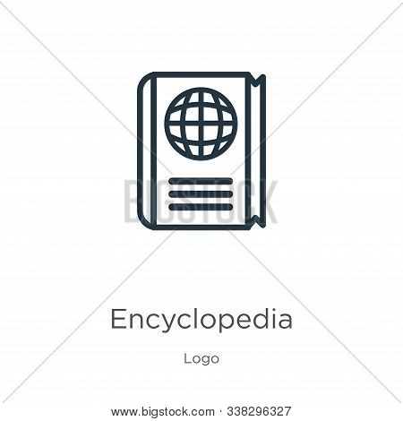 Encyclopedia Icon. Thin Linear Encyclopedia Outline Icon Isolated On White Background From Logo Coll
