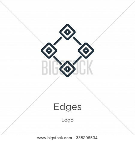 Edges Icon. Thin Linear Edges Outline Icon Isolated On White Background From Logo Collection. Line V