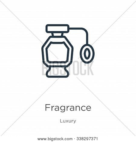 Fragrance Icon. Thin Linear Fragrance Outline Icon Isolated On White Background From Luxury Collecti