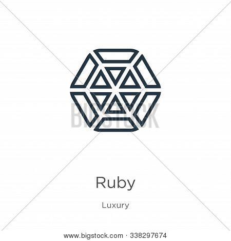 Ruby Icon. Thin Linear Ruby Outline Icon Isolated On White Background From Luxury Collection. Line V