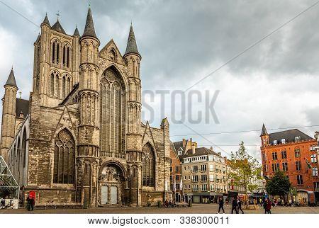 Ghent City Historical Center With Saint Nicholas Cathedral Facade, Flemish Region, Belgium