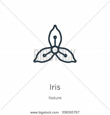 Iris Icon. Thin Linear Iris Outline Icon Isolated On White Background From Nature Collection. Line V