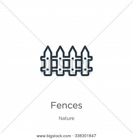Fences Icon. Thin Linear Fences Outline Icon Isolated On White Background From Nature Collection. Li