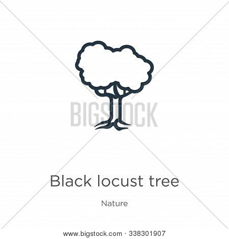 Black Locust Tree Icon. Thin Linear Black Locust Tree Outline Icon Isolated On White Background From