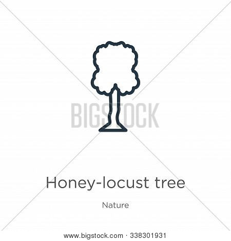 Honey-locust Tree Icon. Thin Linear Honey-locust Tree Outline Icon Isolated On White Background From