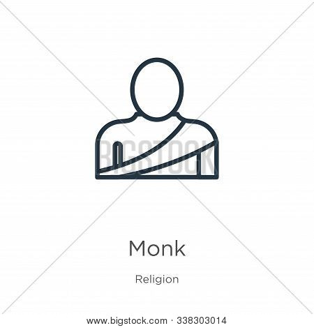 Monk Icon. Thin Linear Monk Outline Icon Isolated On White Background From Religion Collection. Line