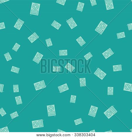 Green Music Mp3 Player Icon Isolated Seamless Pattern On Green Background. Portable Music Device. Ve