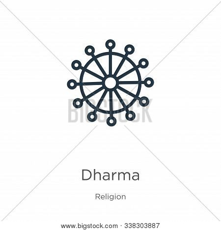 Dharma Icon. Thin Linear Dharma Outline Icon Isolated On White Background From Religion Collection.