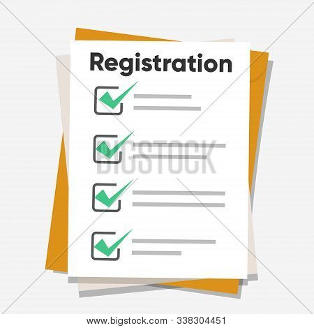 Registration List. Clipboard And Check Marks. Flat Style Design