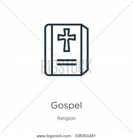 Gospel Icon. Thin Linear Gospel Outline Icon Isolated On White Background From Religion Collection.