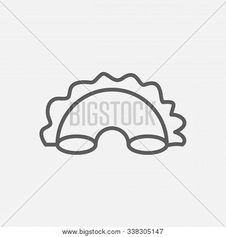 Creste Di Gallo Pasta Shape Icon Line Symbol. Isolated Vector Illustration Of Icon Sign Concept For